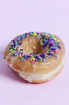 Glazed donuts with sprinkles.