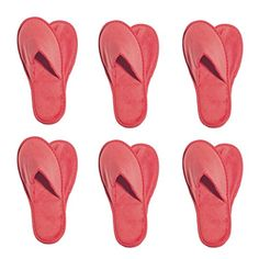 6 One Size Coloured Terry Velour SPA Slippers (RED):   Value 6 Pack of Terry Velour Closed Toe Slippers Are Made From 100% Absorbent Top Quality Natural Cotton Ideal for Luxury Hotel Slippers, Wholesale Spa Slippers, Wholesale Indoor Slippers, Guest Room Slippers, Wholesale House Slippers, etc. Non Skid Grip on Sole in various colors including Black and White.