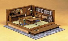 Japanese miniature outdoor patio dining room scene