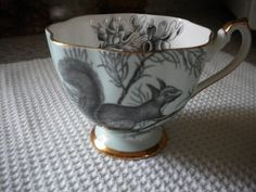 Here's something unique~  A squirrel on your cup!  Queen Anne bone china