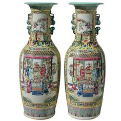 Fine Pair of 19th c. Chinese Famille Jaune porcelain Palace Size Vases | From a unique collection of antique and modern ceramics at http://www.1stdibs.com/furniture/asian-art-furniture/ceramics/