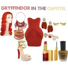 Gryffindor In The Capitol, created by nearlysamantha on Polyvore Harry Potter Dress Up, Harry Potter Outfits, Harry Potter Memes, Harry Potter Wattpad, Cosplay Events, Harry Potter Houses, Casual Cosplay, Disney Dresses, Disneybound