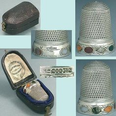 Agate Stones Band Antique Thimble  (Registered Sterling Silver, Vintage Thimble in Case)