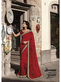 Laxmipati Georgette Designer Printed Saree in Red & Black colour