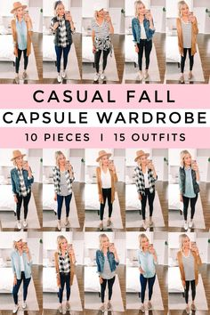 Do you struggle putting outfits together? Are you overwhelmed by your closet and want to scale back? Just need to get out the door quickly and want an easy way to get dressed quickly? Then I have the answer for you! I am so excited to be sharing my casual fall capsule wardrobe. It is all made up of pieces that are $40 and under (and often on sale for even less)! You'll get 15 mix and match outfits with 10 pieces using items you probably already have in your closet. Love Her Style, Mom Style, Putting Outfits Together, Fall Capsule Wardrobe, Hey Girl, Casual Fall, Looking For Women, Get Dressed, Autumn Winter Fashion