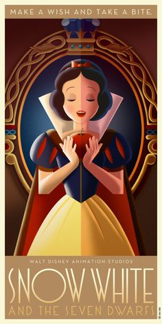 Snow White poster in Art Déco retro style.