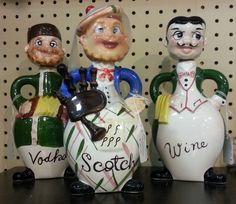 Looking for a little character in your serving bottles?  These three figurine bottles in booth 280 at Charleston Antique Mall in Las Vegas, Nevada may be just the thing!