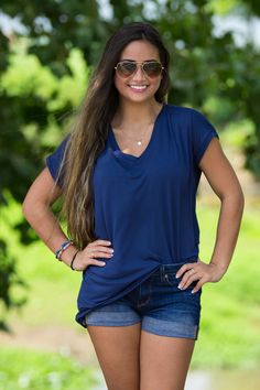 The Perfect Piko Rolled Short Sleeve V-Neck Top-Navy