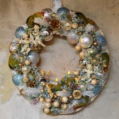 Vintage Candle Christmas Wreath Handmade made by WreathsAmongVines