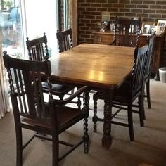 ANTIQUE-OAK-DINING-TABLE-WITH-6-CHAIRS-AND-MATCHING-WRITING-BUREAU