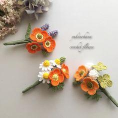 Art Au Crochet, Crochet Case, Crochet Diagram, Cute Crochet, Crochet Small Flower, Crochet Flower Tutorial, Knitted Flowers, Bouquet Crochet, Crochet Brooch