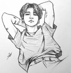 Kpop Drawings, Art Drawings Sketches Simple, Pencil Art Drawings, Jimin Fanart, Kpop Fanart, Aesthetic Drawing, Aesthetic Art, Wie Zeichnet Man Manga, Boy Art