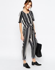 Vila | Vila Stripe Casual Trouser at ASOS