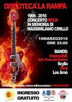1996-2016 Concerto Rock in memoria di Massimiliano Cirillo. Vent'anni dopo.