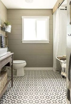 120 Modern Farmhouse Bathroom Design Ideas And Remodel. You don't need to live on a farm to enjoy farmhouse style. Retro and rustic, the farmhouse style takes us to simpler times, where technology . Trendy Bathroom, Bathroom Farmhouse Style, Bathroom Styling, Bathroom Floor Tile Patterns, Bathroom Renovations, Small Farmhouse Bathroom, Bathroom Flooring, Bathrooms Remodel, Bathroom Design