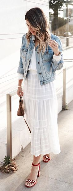 #summer #outfits  I'm Going To Live In These Sandals All Summer Long! // Denim Jacket + White Lace Maxi Skirt + Red Sandals