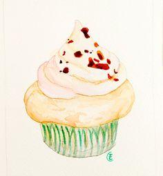 Caramel Cupcake  Original Painting Watercolor by FleurDeParis, $20.00