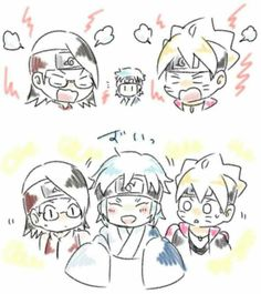 Boruto and Sarada: *yells* Mitsuki: I'm cute an kawaii so deal with it Bo ruto and Sarada: What Naruto Shippuden, Boruto And Sarada, Sasuke, Anime Naruto, Manga Anime, Team Konohamaru, Autodesk Sketchbook Tutorial, Boruto Next Generation, Boruto Naruto Next Generations