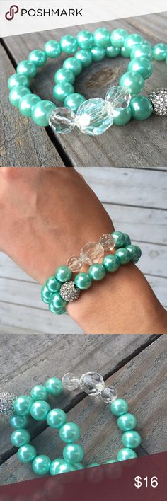 Aqua & Clear Stretch Bracelet Aqua & Clear Stretch Bracelet.   Faux pearl and faceted clear bead stretch bracelet. Perfect for stacking!   Made with love in the USA. Jewelry Bracelets
