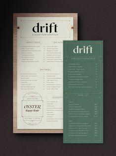 Drift — Kutz Made: Compelling Brand Design Restaurant Branding, Restaurant Menu Design, Modern Restaurant, Cafe Branding, Corporate Branding, Corporate Design, Logo Design, Typography Poster Design, Identity Design