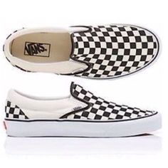 Vans black and white checkered slip on In good condition. Hard to find as they are sold out in most sizes. Size 9 woman's. The color is like a black and white/off white color. Not a bright bright white Vans Shoes