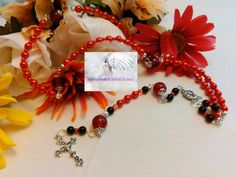 Rosary/Prayer Beads/Red and Silver/Crucifix Silver/Madonna with Child Centerpiece Silver/Rosaries/Catholic/Handmade/   LR#0052 by Justmyhands1Rosaries on Etsy