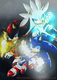 The 3 hedgehogs Sonic: ring power Shadow: chaos control Silver: psychic power