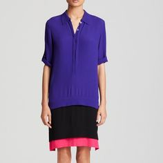 DVF DIANE VON FURSTENBERG Hatsu Dress DVF DIANE VON FURSTENBERG Hatsu Dress. Size Small. NWT.   Relaxed and chic, the New Hatsu tunic dress is a modern take on the shirtdress. In dramatic colorblock. Oversized style.  A medium weight textured fabric with soft, fluid feel and stretch.  100% Viscose Diane von Furstenberg Dresses