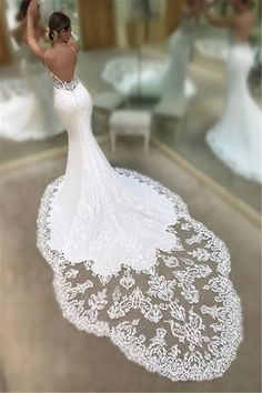 Wedding Styles - This beautiful Mermaid Spaghetti Sleeveless Appliqued Lace Court Train Wedding Dresses will make your guests say wow. The bodice is thoughtfully lined, and the Floor-length skirt with Appliques to provide the airy, flatter look of Lace. Western Wedding Dresses, Wedding Dress Train, Custom Wedding Dress, Lace Mermaid Wedding Dress, Mermaid Dresses, Dream Wedding Dresses, Bridal Dresses, Swarovski Wedding Dress, Italian Wedding Dresses