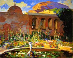 San Juan Capistrano Mission Yard | Franz Bischoff | oil painting  #beautiful paintings