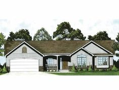 Ranch House Plan with 1420 Square Feet and 3 Bedrooms(s) from Dream Home Source | House Plan Code DHSW66497