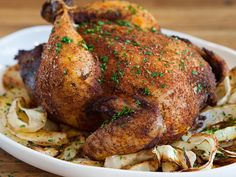 Paprika-and-Pepper Roast Chicken (Pollo al Diavolo) by tastingtable as adapted from Chad Colby, Chi Spacca, Los Angeles: oasted o. Chicken Spices, Roast Chicken, Chicken Recipes, Chicken Paprika, Pepper Chicken, Stuffed Chicken, Pork Roast, Rotisserie Chicken, Gourmet