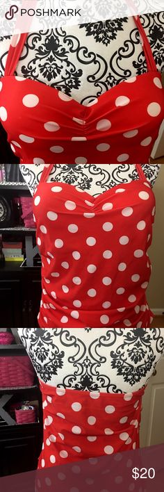 TANKINI SWIM TOP VERY PINUP MOLDED CUPS SIZE XXL Very cute pinup style tankini swim top.  Color is red with white polka dots.  Has a halter style adjustable tie and molded bra cups. Size marked as XXL.  No brand on this item. NOT LISTED Swim Bikinis
