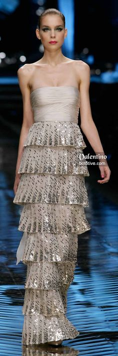 Valentino Neutral Strapless and Beaded Multi-Tiered Gown