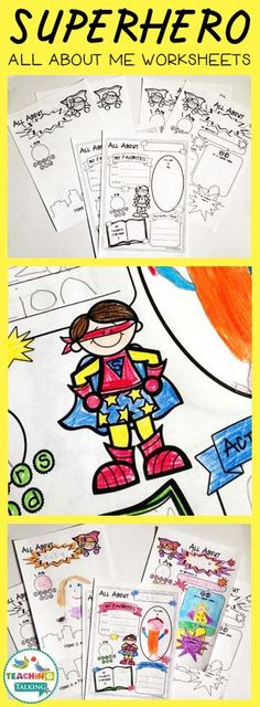 Superhero Themed All About Me Worksheets by teachingtalking.com