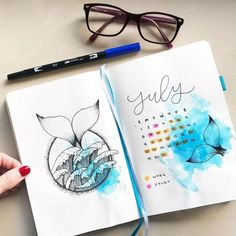 30 Under the Sea Themed Bullet Journal Layout Ideas – 30 unter dem Meer-Thema Bullet Journal Layout-Ideen – Bullet Journal Inspo, Bullet Journal Tumblr, Bullet Journal Spreads, Bullet Journal Cover Ideas, Bullet Journal 2019, Bullet Journal Ideas Pages, Bullet Journal Layout, Journal Covers, Bullet Journals