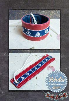 Armband Echt Leder, Nautische, Marine, Maritiem, anker, bootje, stuurwiel, lint, rood/wit/blauw via Birdie Accessoires