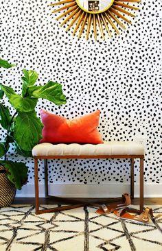 The Best Wallpaper Trends For Small Spaces Design Entrée, Home Design, Deco Design, Pattern Design, Estilo Interior, Home Interior, Interior And Exterior, Interior Decorating, Decorating Ideas