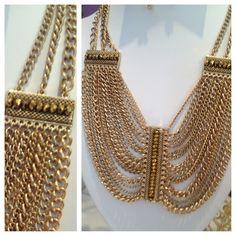 topaz chain bib necklace
