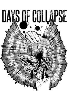 Dilophosaurus. Grafica per t-shirt gruppo Days Of Collapse.