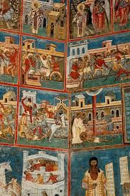 Image result for Fresco of Adam and Eve from the Voroneț Monastery in Suceava County, Romania.