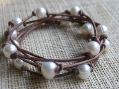 Leather and Pearl Wrap Necklace/ Bracelet
