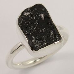 Natural BLACK TOURMALINE Gemstone 925 Sterling Silver Jewelry Ring Size US 6.75 #Unbranded Black Tourmaline Ring, Tourmaline Gemstone, Amethyst Gemstone, Silver Jewellery Indian, Handcrafted Jewelry, Sterling Silver Jewelry, Jewelry Rings, Gemstones, Natural