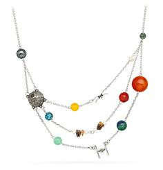 The Star Wars Galactic Necklace highlights some of the more famous planets from galaxies far, far away. Looking at the necklace straight on, at the farthest left we start with a few Core Worlds and then we move off into the Outer Rim Territories. Star Wars Jewelry, Geek Jewelry, Star Wars Ring, Star Trek, Star Wars Planets, Piercings, Galaxy Jewelry, Gadgets, Star Wars Merchandise