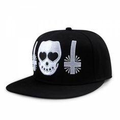 Black skull baseball cap embroidered hip hop snap caps cheap a6b84d49f146