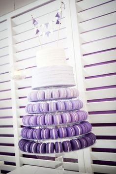 Purple ombre macaron tower with two tier cake. Purple ombre macaron tower with two tier cake. Purple Wedding Cakes, Cool Wedding Cakes, Wedding Desserts, Wedding Cake Toppers, Purple Ombre, Macaron Cake, Cupcake Cakes, Macaroon Tower, Two Tier Cake