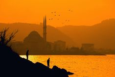 Silhouette of Two People Near Sea in Distant of Ortakoy Mosque, Istanbul Turkey · Free Stock Photo Ireland Landscape, Green Landscape, Landscape Quilts, Landscape Architecture, Nature Meaning, Best Perennials, Landscape Maintenance, Landscape Tattoo, Landscape Photography Tips