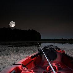 Night fishing the #Supermoon on a #swamp in Alabama. #kayak #kayakfishing #kayakbassfishing #jacksonkayak #alabama