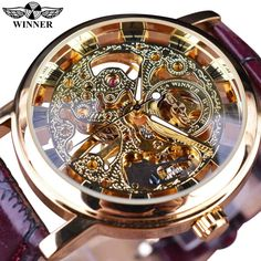 Winner Royal Carving Skeleton Brown Leather Strap Transparent Thin Case Skeleton Design Watch Watches Men Luxury Brand Clock Men is excellent models, futuristic Stylish Watches, Casual Watches, Luxury Watches For Men, Cool Watches, Wrist Watches, Men's Watches, Jewelry Watches, Brown Leather Strap Watch, Skeleton Watches