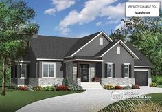 Color version 1 - Front Transitional house plan with open floor plan layout, fireplace, bathroom can be easily added, - Ashbury 2 Two Story House Plans, Ranch House Plans, Cottage House Plans, Best House Plans, Country Style House Plans, Country Style Homes, Affordable House Plans, Drummond House Plans, Bungalow